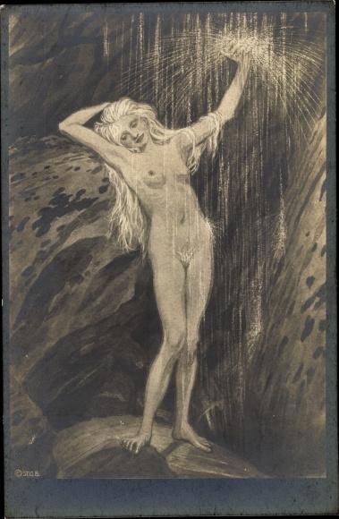 Jugendstil Künstler Ak Fidus, Am Wasserfall, Lichtdruck