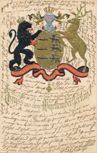 Präge Wappen Litho Gruß aus dem Württemberger Land, Löwe, Hirsch