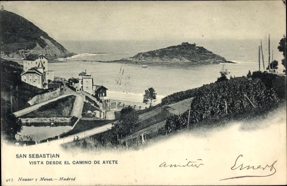 Ak San Sebastian Baskenland, Vista desde el Camino de Ayete