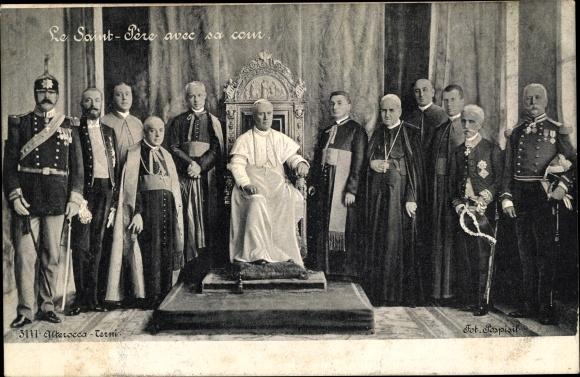 Ak Papst Pius X., Giuseppe Melchiorre Sarto, Saint Père avec sa cour