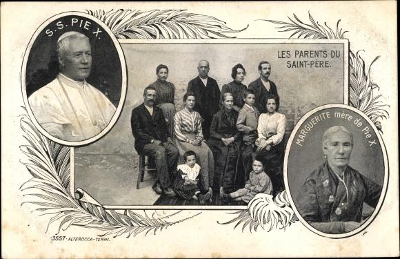 Ak Papst Pius X., Giuseppe Melchiorre Sarto, les parents du Saint Père