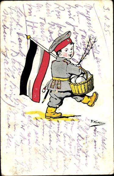 Künstler Ak Kaskeline, F., Kind in Uniform mit Fahne, Eier im Korb