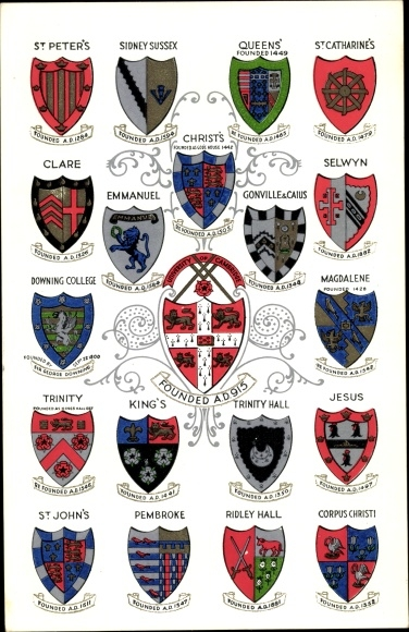 Wappen Ak Cambridge East England, University, Colleges St. Peters, Sidney Sussex, Queens, Clare