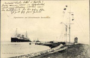 Ak Cuxhaven in Niedersachsen, Signalstation und Schnelldampfer Deutschland