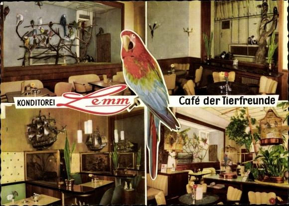 Ak Köln am Rhein, Konditorei Lemm, Café der Tierfreunde, Papagei, Auf dem Berlich 8