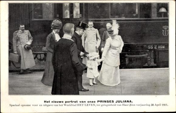 Ak Prinzessin Juliana der Niederlande, Wochenblatt Het Leven, Geburtstag 30. April 1911, Eisenbahn