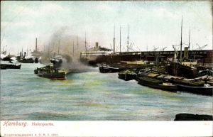 Ak Hamburg, Hafenpartie, Binnenschiffe, Schlepper
