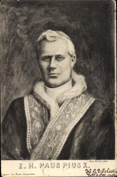 Künstler Ak Hilder, How., Papst Pius X., Portrait