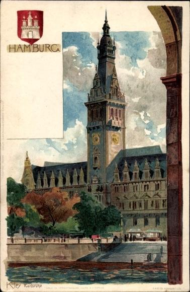 Wappen Künstler Litho Kley, Heinrich, Hamburg Mitte Altstadt, Ansicht vom Rathaus