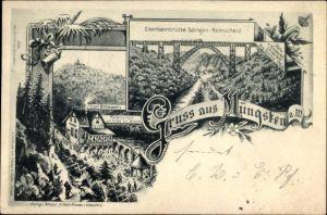 Ak Müngsten an der Wupper Solingen, Eisenbahnbrücke Solingen Remscheid, Carl Ortmanns Restaurant