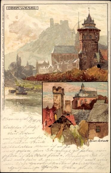 Künstler Litho Wielandt, Manuel, Oberwesel im Rhein Hunsrück Kreis, Panorama vom Ort