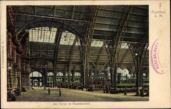 Ak Frankfurt am Main, Der Perron im Hauptbahnhof