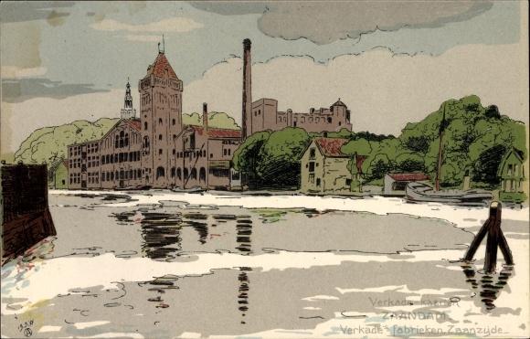 Künstler Ak Zaandam Zaanstad Nordholland, Verkade's Fabrieken, Zaanzijde