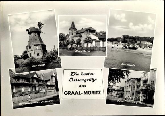 Ak Graal Müritz im Kreis Rostock, Strandhalle, Rosa Luxemburg Heim, Windmühle, Haus Malta