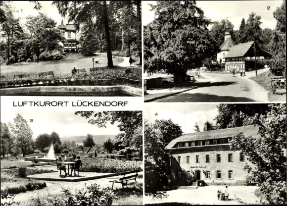 Ak Lückendorf Oybin in Sachsen, Park am Kulturhaus, Bergkirche, Eibe, Kurpark, Kretscham