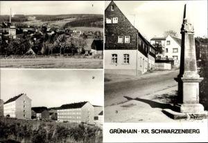 Ak Grünhain Beierfeld im Erzgebirge Sachsen, Teilansicht, Siedlung, Postmeilensäule