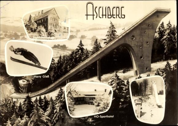 Ak Klingenthal im Vogtland Sachsen, Große Aschberg Schanze, Skispringer, HO Sporthotel