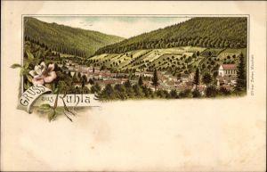 Litho Ruhla in Westthüringen, Ortschaft mit Landschaftsblick