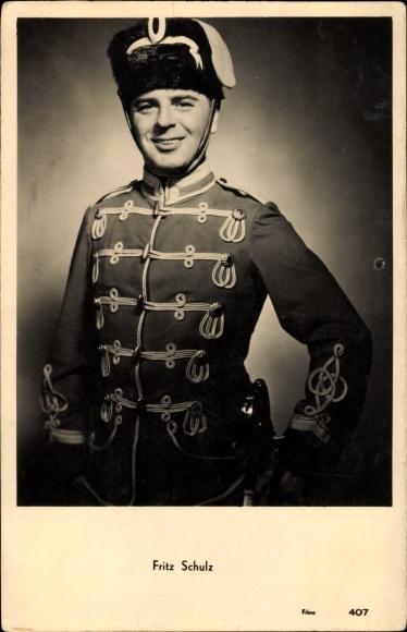 Ak Schauspieler Fritz Schulz, Portrait in Husarenuniform