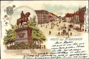 Wappen Litho Mönchengladbach in Nordrhein Westfalen, Marktplatz, Kaiser Wilhelm I. Denkmal