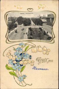 Passepartout Präge Ak Hannover in Niedersachsen, Blick auf die Herrenhäuser Allee, Blumen