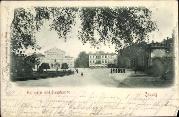 Ak Coburg in Oberfranken, Hoftheater und Hauptwache