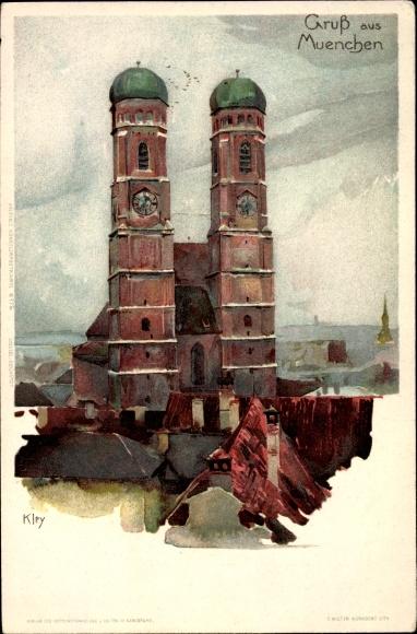 Künstler Litho Kley, Heinrich, München Bayern, Blick auf die Frauenkirche