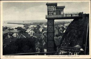 Ak Helgoland in Schleswig Holstein, Personenaufzug mit Hafengelände
