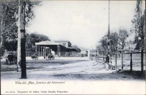 Ak Vina del Mar Chile, Estacion del Ferrocarril, Bahnhof