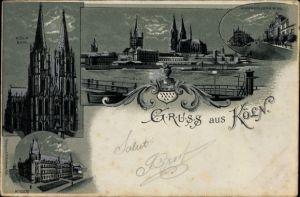 Mondschein Litho Köln am Rhein, Dom, Post, Altstadtpanorama, Hohenzollernring