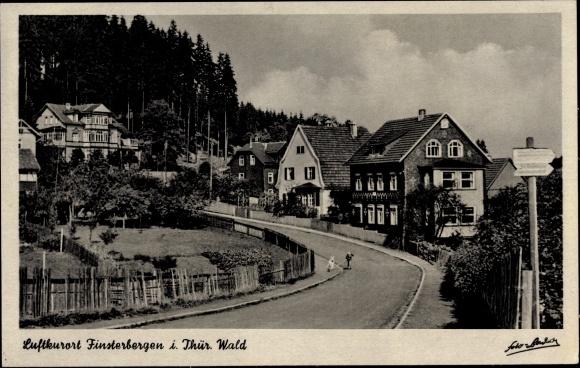 Ak Finsterbergen Friedrichroda Thüringen, Einfahrt in den Ort