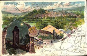 Wappen Litho Ortenberg in Hessen, Obertor, Panorama vom Ort