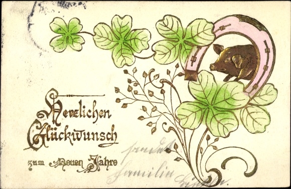 Präge Litho Glückwunsch Neujahr, Kleeblätter, Schwein unter einem Hufeisen