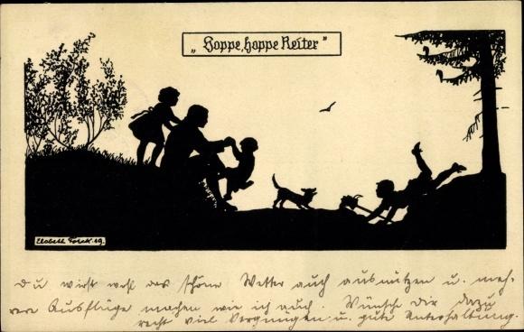 Scherenschnitt Ak Forck, Elsbeth, Hoppe hoppe Reiter, Vater spielt mit Kindern