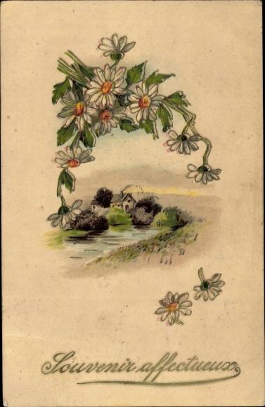 Präge Litho Souvenir affectueuse, Blumenstrauß
