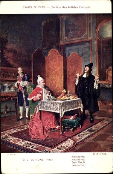 Künstler Ak Borione, B. L., Der Fluch, Papst beim Essen, Verschlucken