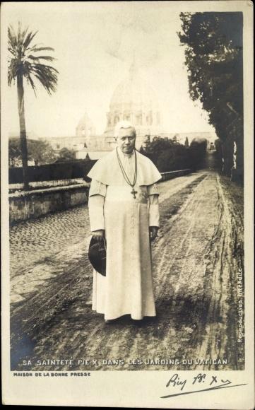 Ak Papst Pius X., Giuseppe Melchiorre Sarto dans les jardins du Vatican