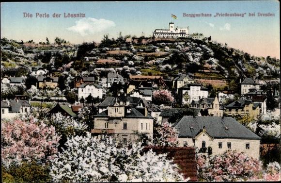 Ak Radebeul Sachsen, Blick zum Berggasthaus Friedensberg