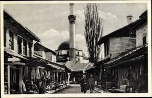 Ak Sarajevo Bosnien Herzegowina, Straßenszene in der Carsije, Moschee, Minarett, Geschäfte