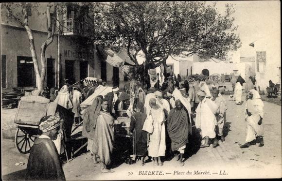 Ak Bizerte Tunesien, Place du Marche, Marktplatz, Maghreb
