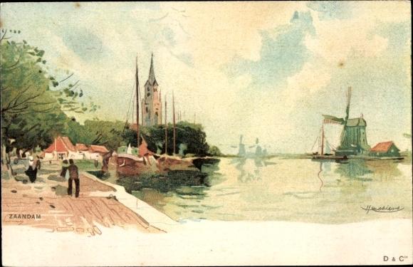 Künstler Litho Zaandam Zaanstad Nordholland, Hafenpartie, Windmühle