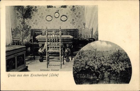 Ak Steinkirchen Altes Land Niedersachsen, Altländer Zimmer, Truhe, Tisch, Kirschbäume
