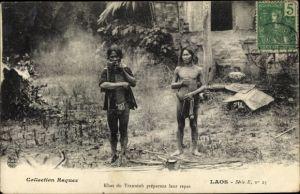 Ak Laos, Khas du Tranninh préparant leur repas