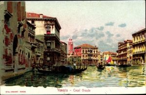 Künstler Ak Venezia Venedig Veneto, Canal Grande, barche gondola