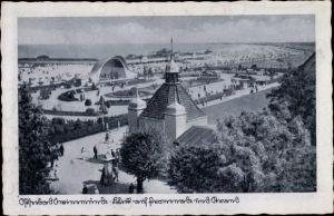 Ak Świnoujście Swinemünde Pommern, Blick auf Promenade und Strand