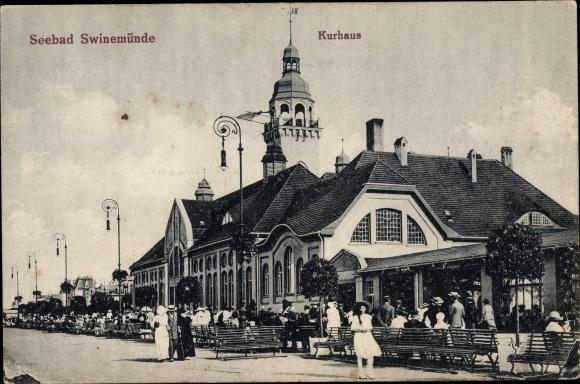 Ak Świnoujście Swinemünde Pommern, Kurhaus, Promenade