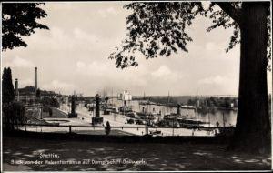 Ak Szczecin Stettin Pommern, Blick von der Hakenterrasse auf Dampfschiffbollwerk