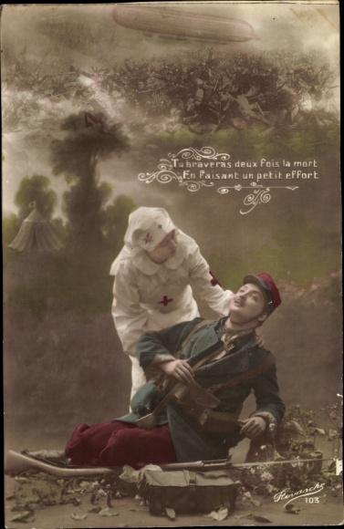 Ak Krankenschwester mit verwundetem Soldaten, Zeppelin