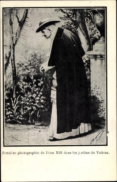 Ak Papst Leo XIII., Vincenzo Gioacchino Pecci dans les jardins du Vatican