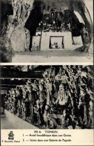 Ak Hanoi Tonkin Vietnam, Autel bouddhique dans une Grotte, idoles dans une galerie